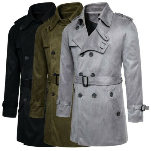 Men/'s Double Breasted Belted British style Trench Coat Woolen Jacket Outwear L