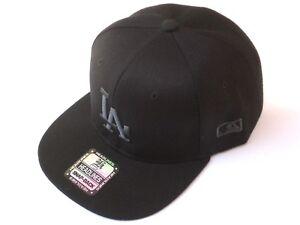 Los-Angeles-Dodgers-Snapback-All-Black-Adjustable-Hat-Cap-LA-One-Size