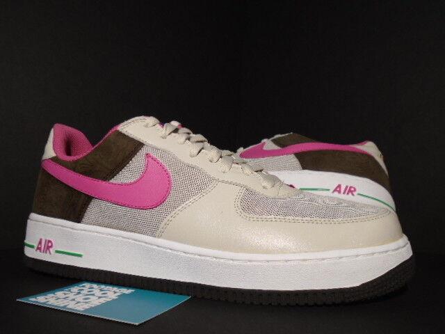2006 Nike Air Force 1 Premium BIRCH PUNCH PINK CINDER BROWN BISON GREEN 12 10.5