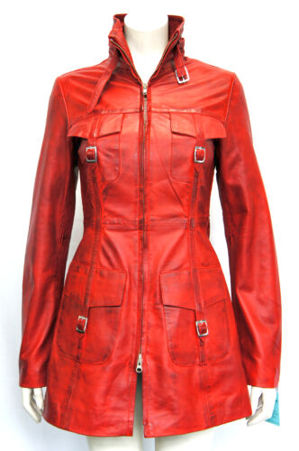 donna lavata da Trench vera in pelle Ladies da Red coat vintage Lasvegas donna BSYqET