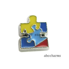 LOT 10pcs Autism awareness Floating charms For Glass living memory Locket 154