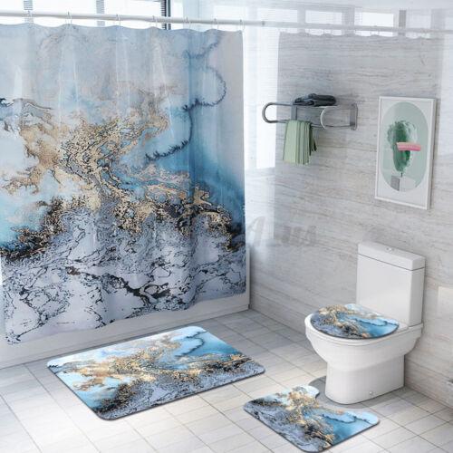 4pcs Set Bathroom Shower Curtain Set Rugs Mat Non-Slip Carpet Toilet Lid Cover