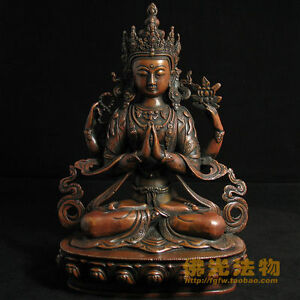 Four-arm-guanyin-pure-copper-Buddha-Buddhism-boutique-collection-23CM