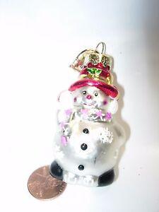 Christmas-TREE-Ornament-GLASS-SNOWMAN-RED-HAT-PINK-SCARF-WOMAN-WHITE-MINI-DECOR