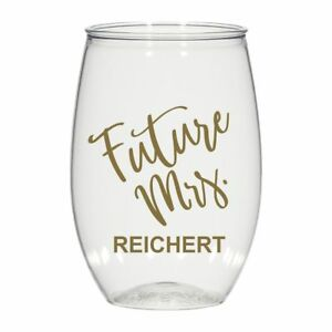 65bc30fa61e Details about 16 oz personalized stemless wine glass, cocktail glass  wedding favors Future Mrs