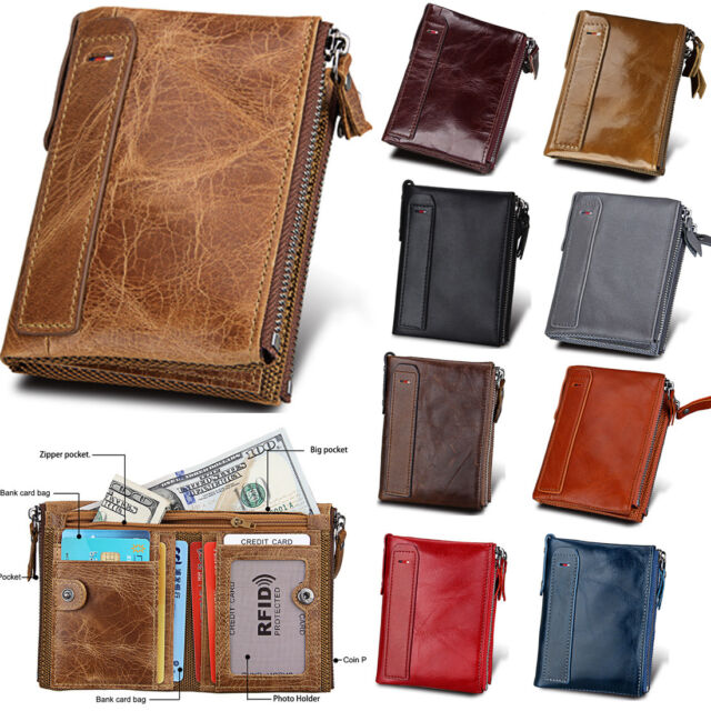 Men Vintage Real Leather RFID Wallet Credit Card Holder Organizer Zip Coin Purse