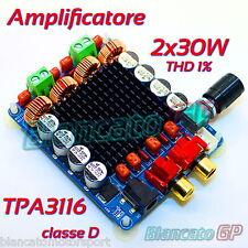 MODULO TPA3116 AMPLIFICATORE STEREO DIGITALE CLASSE D 30W x 2 12V 24V HIFI THD1%
