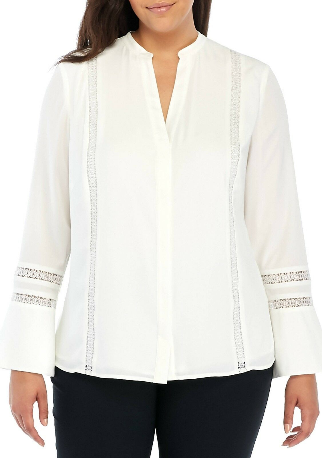 THE LIMITED® Plus Size 3X Ivory Lace Inset Blouse NWT
