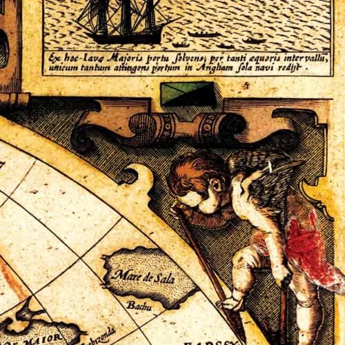 Sir Francis Drake Old World Voyages Exploration Map Poster circa 1595  FREE SHIP