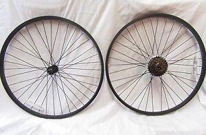 "26"" Mountain Bike Wheels Noir Jante & Rayons & 6 Vitesse Shimano Freewheel-afficher Le Titre D'origine"