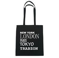 New York, London, Paris, Tokyo TRABZON  - Jutebeutel Tasche - Farbe: schwarz