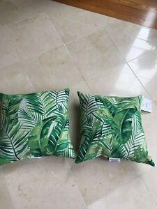 Pr Beige Indoor Outdoor Throw Pillows Green Fern Tropical Patio Or
