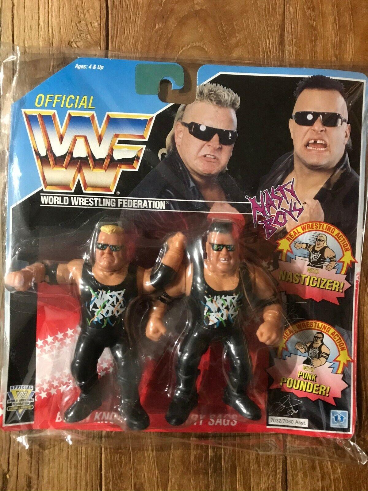 NASTY BOYS Nobbs and Saggs tag team Hasbro Figure WWF WWE 1992 Blau card Vintage