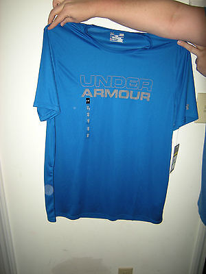 Brand New Mens Blue /& Gray Under Armour Heat Gear Loose Fit Shirt Size XL