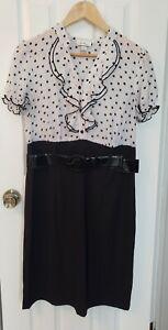 ALYX-Limited-Womens-Sleeveless-Dress-with-Belt-Black-And-White-Ruffle-Neck-Size