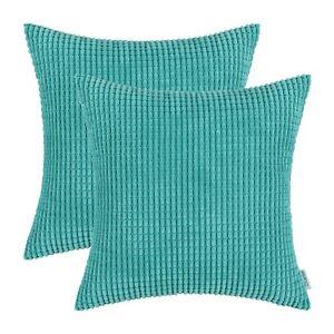 2PCS-Square-Pillows-Throw-Cushion-Covers-Solid-Soft-Corduroy-Corn-Stripes-18x18-034