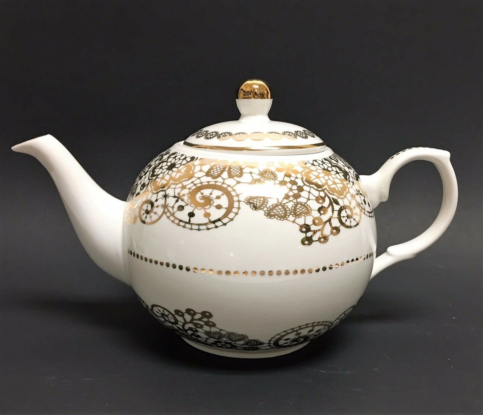 NEW GRACE'S TEA WARE Weiß+Gold TRIM TEAPOT,TEA+COFFEE POT 5 CUPS