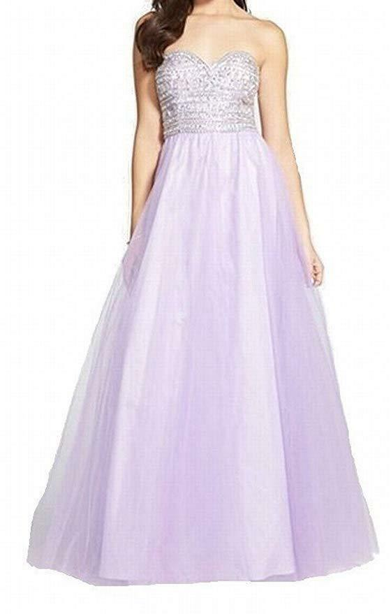 City Studio Juniors' Beaded 'Gwen' Embellished Bodice Ball Gown, purplec NWT 3