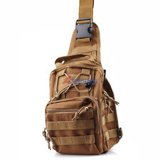 Day Pack Molle Utility Hiking Travel Sport Shoulder Sling Chest Pouch Bag Tan