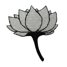 ID 6821 White Lotus Flower Black Stem Iron On Embroidered Patch Applique