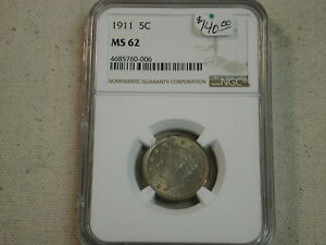 1911-5C-Nickel-MS62-NGC-beautiful-toned-luster