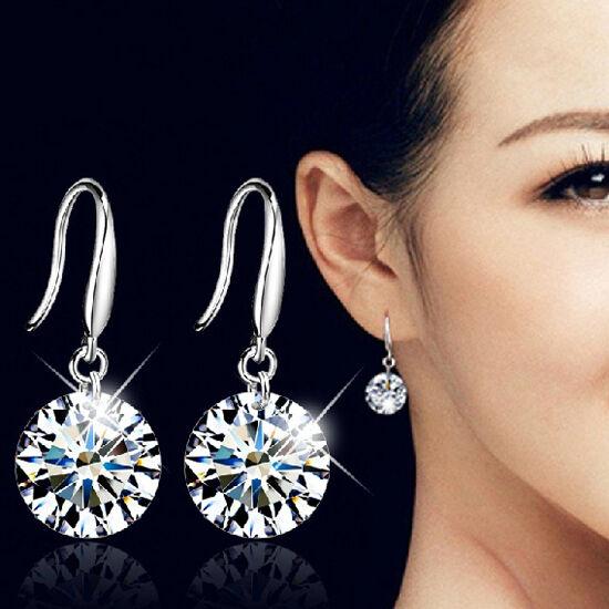 Fashion Women Silver Plated Ear Hook Crystal White Rhinestone Earring Jewelry