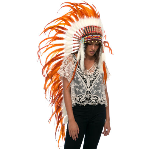 ADJUSTABLE Full Orange Extra Long Native American Indian Style Headdress