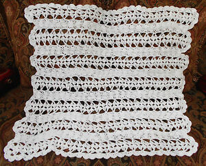 Handmade-Crochet-Baby-Blanket-Afghan-White-Shell-Lacy-New-Very-Soft-Shower-Gift