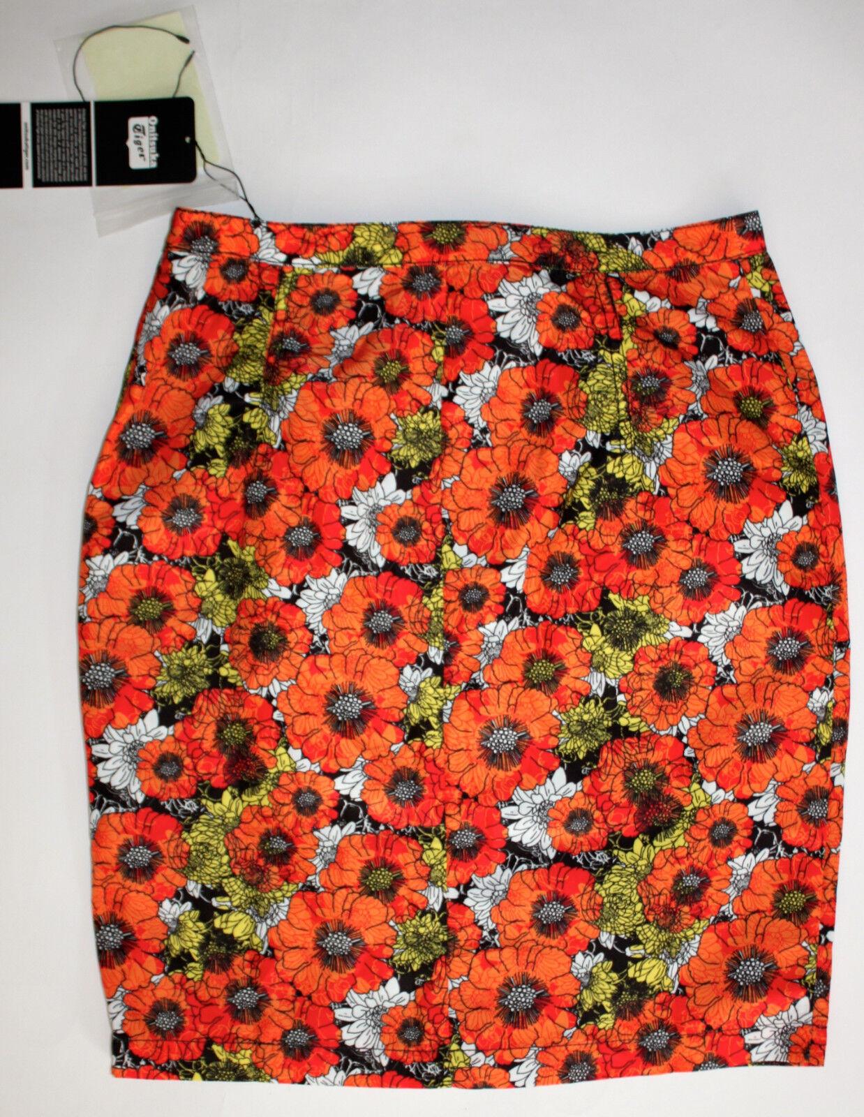 Asics Onitsuka Tiger Women's XS orange White Floral Retro Skirt New Unique