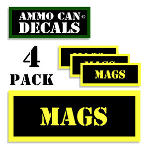MAGS Ammo Can Label 4x Ammunition Case stickers decals 4 pack YW MINI 1.5in
