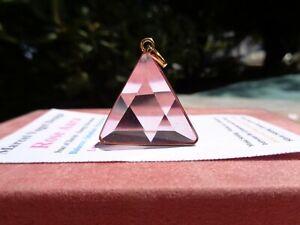 Vogel-Rose-Aura-Quartz-18K-GOLD-on-Silver-Setting-Triangle-Pendant-Vibrant-Rose