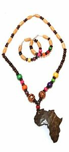 SALE-Safari-Lionel-Wooden-and-or-Beaded-Africa-Map-Pendant-Ethnic-Tribal-African