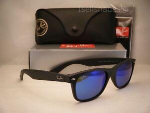 b1425a247a Ray Ban New Wayfarer Matte Black w Blue Mirror Flash Lens (RB2132 ...