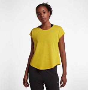 Nike-Women-039-s-Yellow-Tailwind-Top-Activewear-10018-Size-XL
