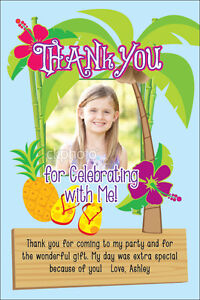 Image Is Loading LUAU TROPICAL THANK YOU CARD Invitation Printable 1st