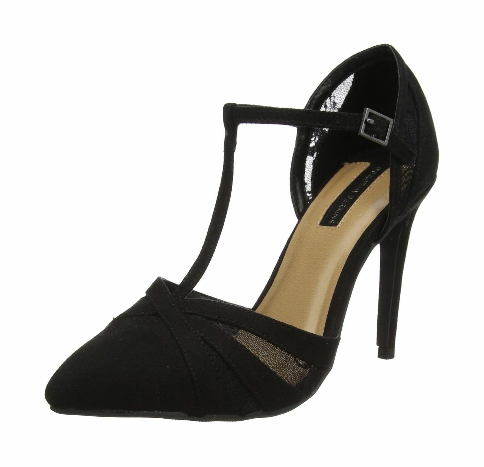 Dgoldthy Perkins Women's Gazed Closed Toe Heels Black (Black) UK 6 EU 39