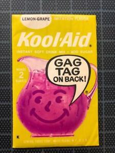 VINTAGE 1960's KOOL-AID FULL PACK Rare LEMON GRAPE FLAVOR old stock GAG TAG mip