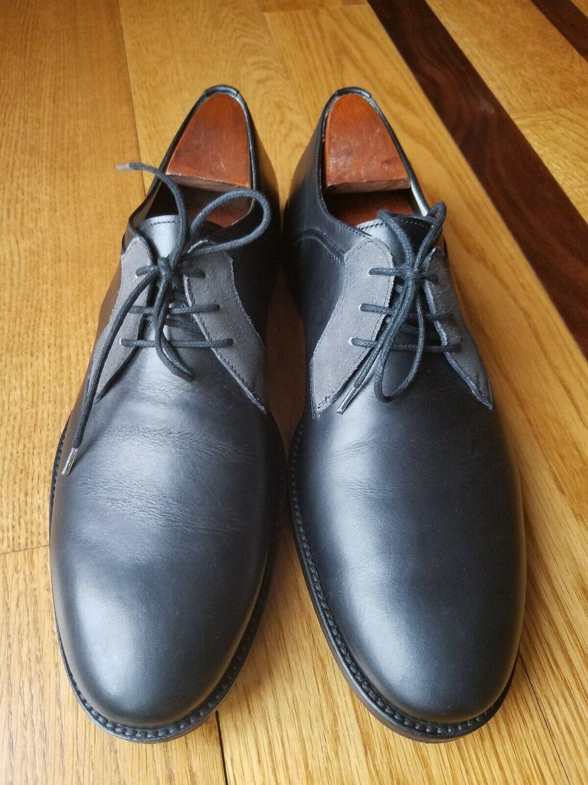 FRATELLI BORGIOLI Black Italian Leather Plain Toe Oxford shoes shoes shoes Size 8 Made  4cb638