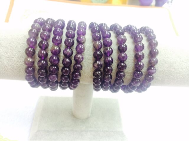 Genuine African Amethyst 8mm 25beads Stretch Bracelet