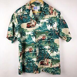 6c5f853c Vintage RJC Hawaii Hawaiian Shirt Surf Board Palm Tree Woody Car ...