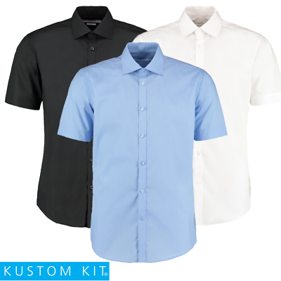 Kustom Kit Men's Shirt Short Sleeve Slim Fit Work Office Stand Up Fused Collar