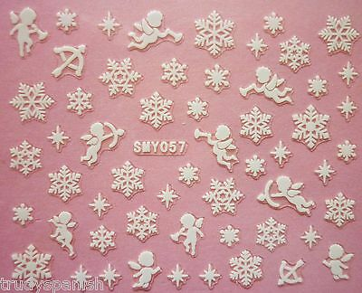 Christmas Snowflakes Holly Reindeer Design 3D Nail Art Stickers Decals Transfers