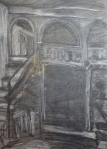 Details about VINTAGE INTERIOR PASTEL DRAWING
