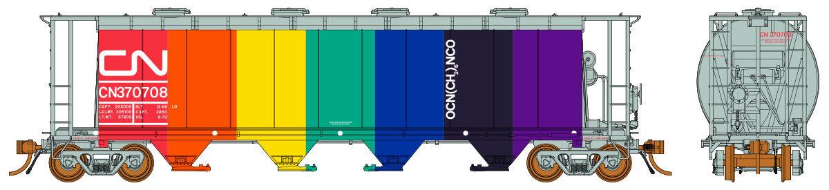 Rapido  HO  CN-POTASH 3800 Cu.Ft. 4-Bay ACF Coverosso Hopper Car  370708 RTR NIB