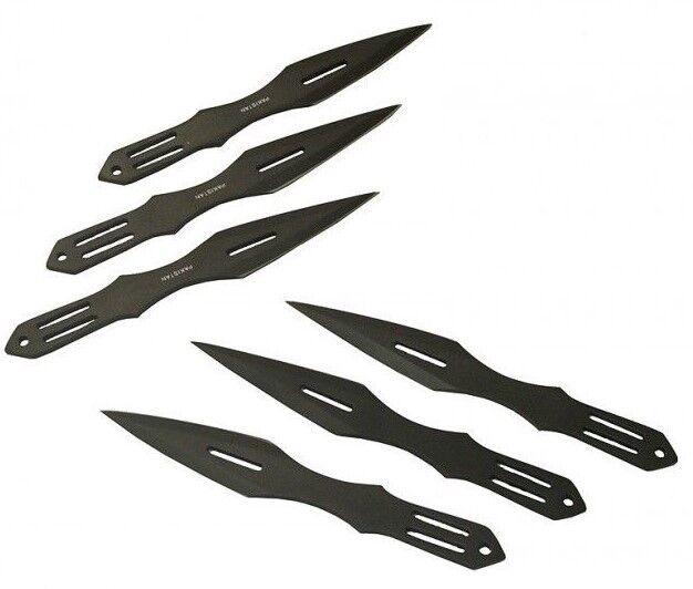 Throwing Knives - 6 Knife Set w/ Sheath - Sharp Double Edge Black Blade - 5640