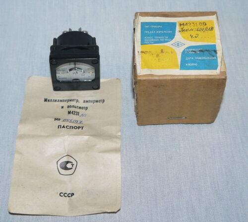 lot of 1 pcs ANALOG PANEL MICROAMPER METER DC 500-0-500uA 4/%  USSR RARE