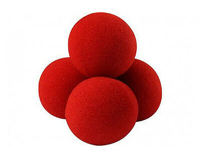 Close-Up Magic Street Classical Comedy Trick Soft Red Sponge Ball X 4 +DVD