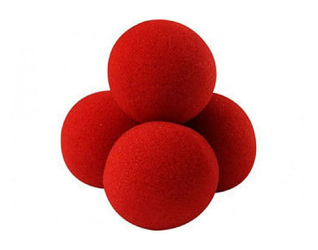 Close-Up Magic Street Classical Comedy Trick Soft Red Sponge Ball X 4 +DVD