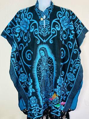Mexican Black//Blue Jorongo Poncho Gaban horse Horseshoe Reversible 2 in 1unisex