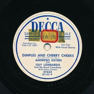 ANDREWS-SISTERS-on-1951-Decca-27652-Promo-Dimples-and-Cherry-Cheeks